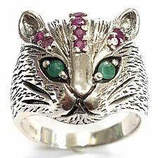 ART NOUVEAU STYLE  NATURAL RUBY AND EMERALD CAT RING STERLING SILVER 925 8