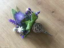 COMISCOTY Scottish Celtic Thistle Tussie Mussie / Buttonhole / Corsage + Vase