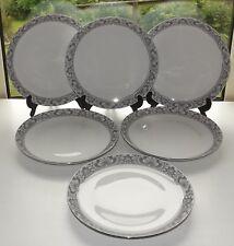 Eschenbach German Porcelain 6 x Dinner Plates 24cm Diameter Grey Floral