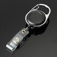 Retractable Recoil ID Badge Lanyard Name Tag Key Card Holder Belt Clip Black