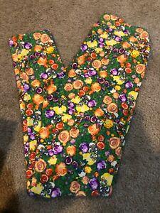 NEW LuLaRoe OS One Size Disney Leggings Green Multi Floral DAISY DUCK