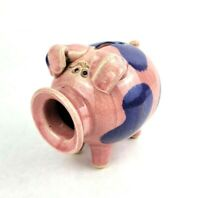 Vintage Handmade Pottery Whimsical Piggy Bank Pink and Blue Stamped