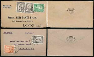 ADEN KG6 1948 AIRMAILS COWASJEE DINSHAW ENVELOPES SINGLE + DOUBLE RATE to GB
