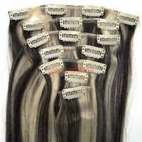 """15"""" 18"""" 20"""" 7PCS Clip In Remy Human Hair Extension Straight #1B/613 Mixed"""