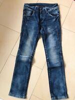 Jeans Gr. 134 Blau, gerades Bein, mit Taschen,