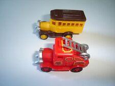 VINTAGE SCHOOL BUS & FIRE ENGINE MODEL CARS SET 1:87 KINDER SURPRISE MINIATURES