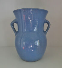 """Vintage PERIWINKLE BLUE STONEWARE POTTERY TWO HANDLED VASE  8"""" Tall VGC"""