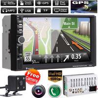 "7"" HD Doble 2DIN Coche Radio Pantalla Táctil MP5 Player Bluetooth GPS + Cámara"