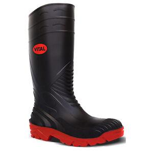 V12 Titan Safety Wellington Boots Black (Sizes 3-13) Men's Steel Toe Cap Wellies
