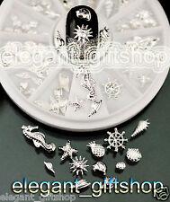 #EJW_17 Slice Nail Art Decoration Glitter Silver Alloy Starfish Seahorse+ Wheel
