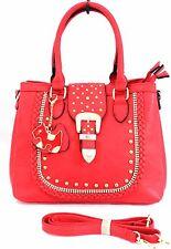 Ladies Faux Leather Multi Pocket Diamante Studded Dog Charm Shoulder Handbag Red