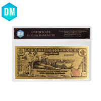 1896 Year One Dollar 24k Gold Plated Bill Note Colorful Gold Banknote In Sleeve