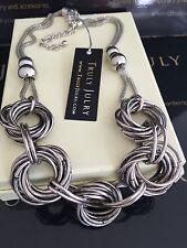 Mujer Moderno Diseñador Grueso Eslabón Collar De Plata Regalo Joyería GB