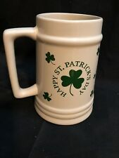 """Super Size 40 Oz. Happy St. Patrick's Day Pottery Beer Stein/Mug 7"""" Tall"""