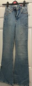 Urban Outfitters BDG FLARE High Rise Slim Flare Blue Jeans W24 32L UK 6 XS BNWT