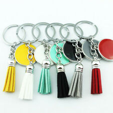 Monogrammed Round Disc Blank Leather Tassel Keychain Personalized Accessories