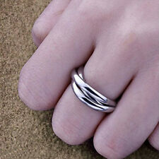 1 Three Circles Stainless Steel Silver Women's Rolling Ring Size 7 8 9 Xmas Gift