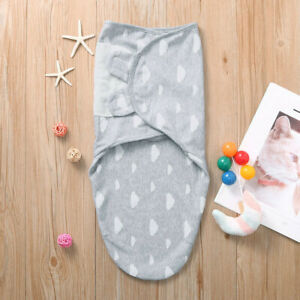 Newborn Infant Babe Swaddle Wrap Blanket Cotton Stars Striped Sleeping Bag