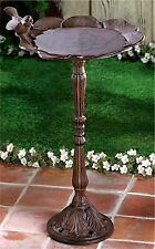 Rustic Iron Birdbath W/ Sculpted Bird And Garden Decor * Nib