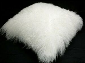 24'' Real Mongolian Tibetan Lamb Fur Pillow Cover Tibet Genuine Cushion Wool Fur