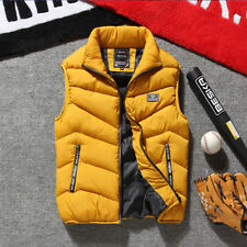 Winter Warm Mens Down Cotton Padded Sleeveless Jacket Vest Waistcoat Parka L-3XL
