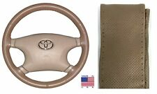 Perforated Oak Genuine Leather Steering Wheel Cover Size C For Dodge & More