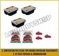 Scatole porta veleno per topi grandi + esche ratti contenitori esca topicida