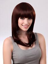 Chic Mahagoni Synthetische Glatt Mittel Haar Perücken für Frau Mode Perücke Neu