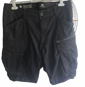 "Men's G Star Raw Black Chino Shorts Cargo Knee Length 32"" Waist Worn Once"