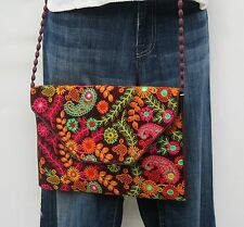 Paisley Embroidery Gypsy Banjara Crossover Shoulder Bag Boho Bohemian 60s Style