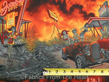 "Zombie Drive In Pin Up Girls w Flames Rat Rod Cars  31""x44""  AH Cotton Fabric"