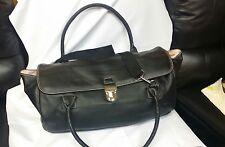 Victorias Secret black travel bag overnight duffle luggage pebbled leather