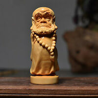 Dharma Hand-Carved Boxwood Wood Carving Delicate Bodhidharma Buddha Art Statue