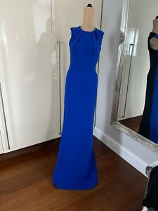 Stunning Jonathan Saunders Evening Gown Dress Electric Blue And Black Size 8