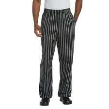 New Men Contemporary Black/White Stripe Baggy Chef Pants