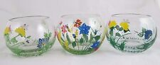 Hand Painted Glass Floral Round Tea Light Candle Holder Chubby Bowls Set of 3