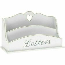 Letter Rack White Wood Heart Post Tidy Shabby Chic French Style 26cm