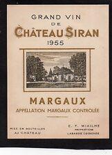 MARGAUX VIELLE ETIQUETTE CHATEAU SIRAN 1955 RARE  §17/11/16§