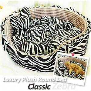 Luxury Pet Bed- Classic Black Zebra Large Round Plush Cuddly Bed for Dog/Cat