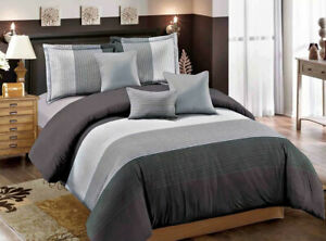 Gray Striped Quilt Duvet Doona Cover Set Double/Queen/King Size Bedding Set AU