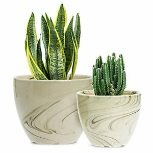 Ceramic Pots for Plants,  6.5 + 5.3 Inch Indoor Flower Planters with Beige