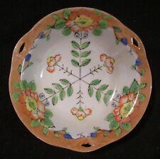 """Vintage Made in Japan Lustreware Luster Orange Rim Floral Handled Bowl 7 1/2"""""""