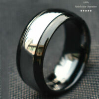 8mm Dome Silver Center Tungsten Carbide Black Ring Wedding Band Jewelry