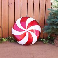 Giant Red White Glitter Round Candy Cane Swirl Christmas Tree Display Decoration