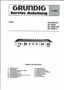 Grundig Service Manual  für SV 2000 GB/U  Copy