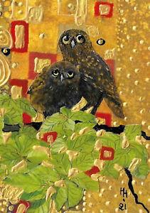 """ACEO Original """"Klimt Style Owls"""" Collage & Painting, Hélène Howse"""
