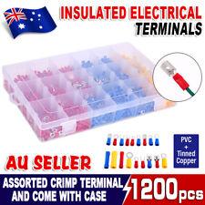 1200pcs Electrical Wire Crimp Terminals Set Kit Insulated Spade Butt Connectors