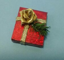 Dollhouse Miniature Handcrafted Christmas Holiday Gift Package Red & Gold 1:12