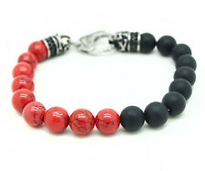 Genuine Onyx Fossil Bracelet Stainless Steel Red Ball Bead Round Gemstone Skull