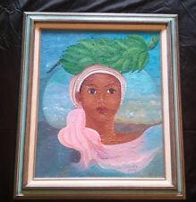 Original Oil Painting Haitian Artist Marc Harold Laurent African Woman Surreal